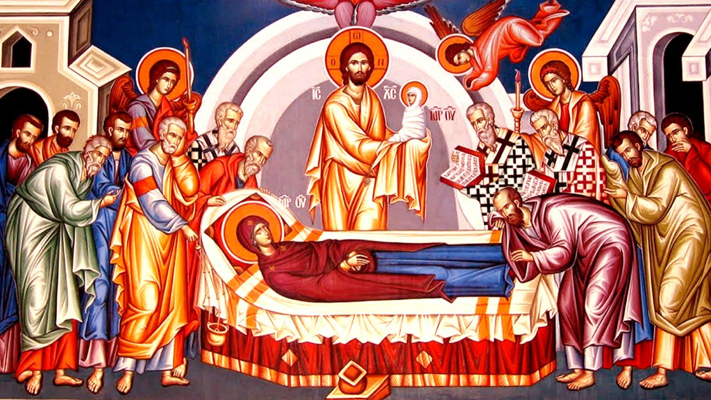 Photo of an icon of the dormition of the Theotokos