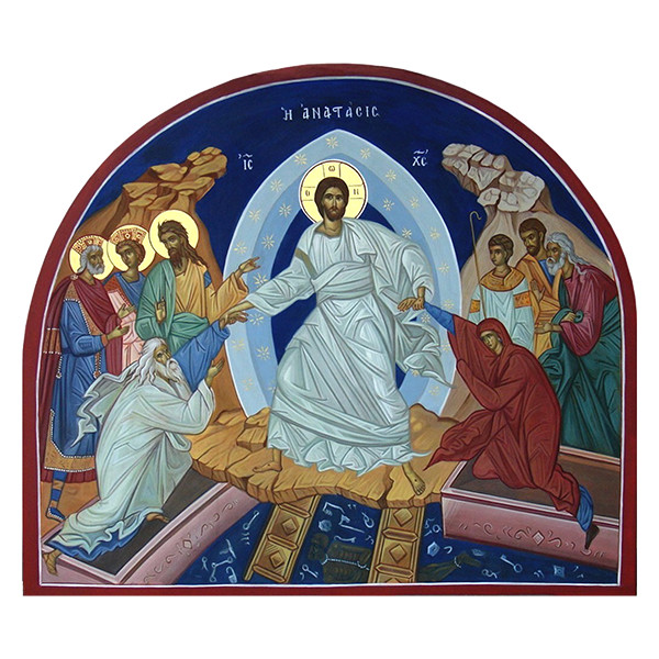 Photo of an icon of the resurrection of Jesus