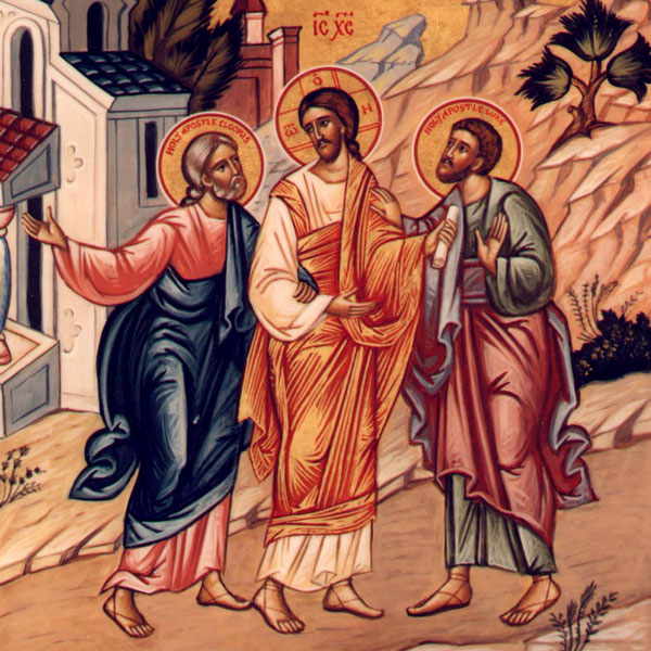 An icon painting of Jesus on the road to Emmaus, appearing to two disciples after the resurrection.